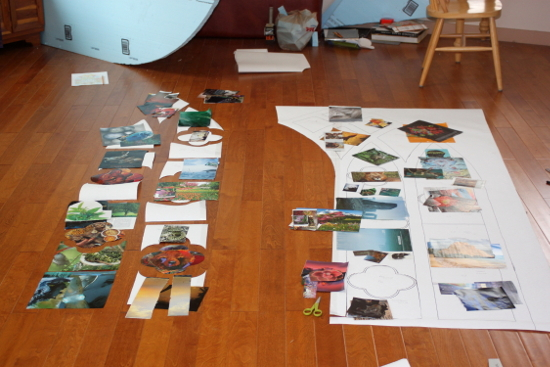 The paper pattern is being cut up, and magazine pictures picked out for each section.